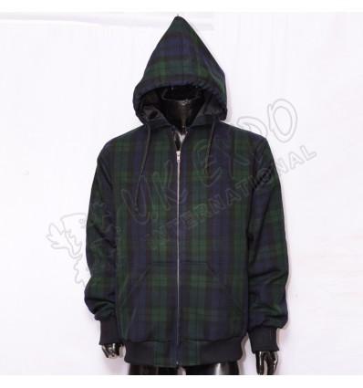 Men Black Watch Tartan Hooded
