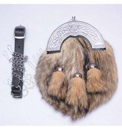 Mens Scottish Kilt Sporran Fox Fur Celtic Thistle Cantle Antique Kilt Sporrans