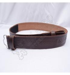 Brown Celtic Design Belt with Scottish Celtic Embossed real leather belt
