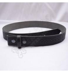 Black Celtic Design Belt with Scottish Celtic Embossed real leather belt