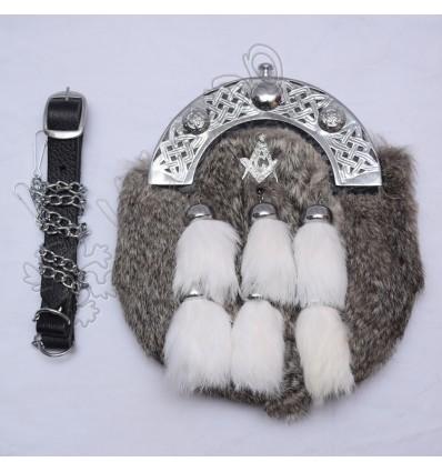 Masonic Badge with Gray Rabbit Fur Full Dress Sporran with 6 White Fur Tessels