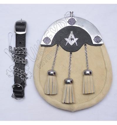 Cream color Cow Skin Sporran with Masonic Badge