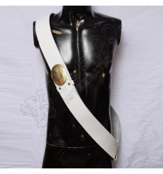 White cross belt with brass With NEMO . ME . IMPUNE . LACESSIT chest plate