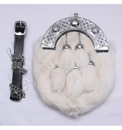 White rabbit fur full dress sporran