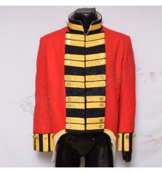 21st Gold Buttons with Gold Braid front double Brest and Red Main body Black Collar