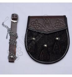 Black Seal Skin with Brown leather Semi Dress Sporran