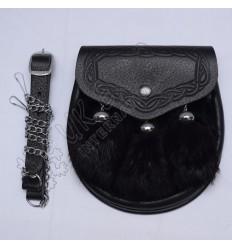 Black Rabbit fur with Real Black Leather Semi Dress Sporran