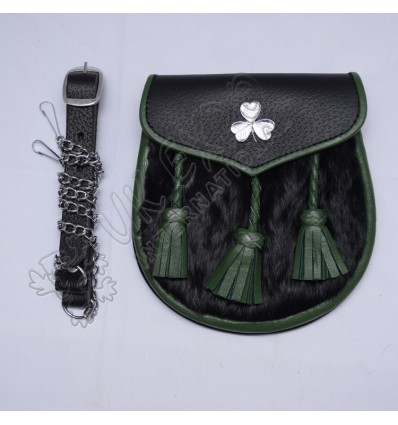 Shamrock Green Tessels Green Piping Semi Dress Sporran
