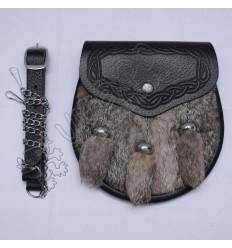 Grey Multi color fur semi dress Sporran