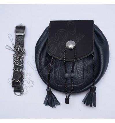 RobRoy black heavy gage super Quality Real Leather Day Wear Sporran