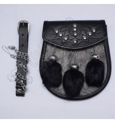 Multi Gray and black fur tessels semi dress Sporra