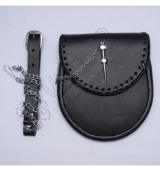 New Lock Black real leather Day wear Sporran