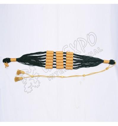 Dark Green and Golden color cotton Russian braid barrel sash