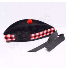 Black Glengarry Hat with Red Black and White dicing