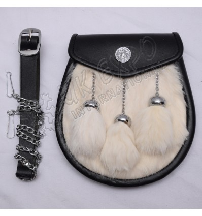 Celtic Cow Hide Leather with Three Tessels Belt and Chain