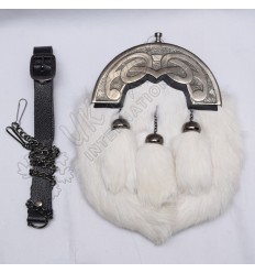 White Rabbit Fur Full Dress Sporrans Scottish Celtic Design Cantle Shiny Antique