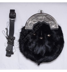 Black Rabbit Fur Full Dress Sporrans Scottish Celtic Design Cantle Shiny Antique