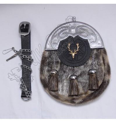 Mens Full Dress Kilt Sporran Seal Skin Celtic Cantle Scottish Kilt Sporrans