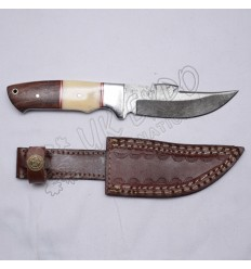 Thunder cut knife Damascus steel blade with wood and bone stain less steel handle