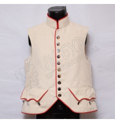 Cream color Canvas Vest with Red Piping and Plain Chrome Button
