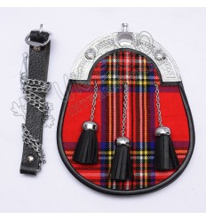 Red tartan Scottish Sporran