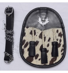 Scottish Black Leather Goat Skin Semi Dress Sporrans