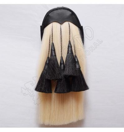Regimental White Horse Hair Sporran with 5 Black Hair Tassels
