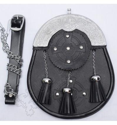 Black leather trinity sporran