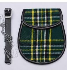 Scottish Irish National Tartan Sporran With Leather Backing & Belt Chain
