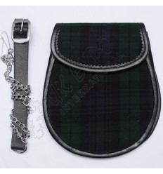 Scottish Black Watch Tartan Sporran With Leather Backing & Belt Chain