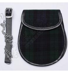 Scottish Black Watch Tartan Sporran With Leather Backing & Belt Chain