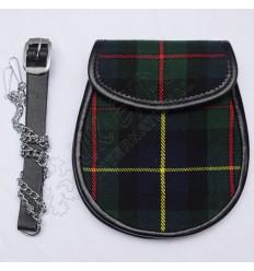 Scottish Hunting Stewart Tartan Sporran With Leather Backing & Belt Chain