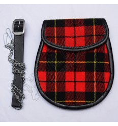 Scottish Wallace Modern Tartan Sporran With Leather Backing & Belt Chain