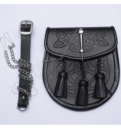 Scottish Double Embossed Black Leather Sporran with Three Tessles and chain Lock