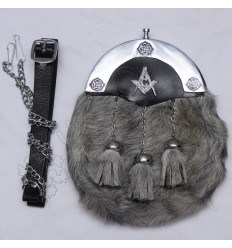 Color filled Cantle Seal Skin Gray Sporran with Masonic Badge on leather Backing