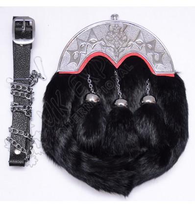 Full Dress Black Rabbit fur sporrans with Scottish Cantle