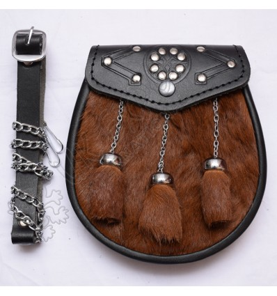 Brown Color Goat Skin Celtic emboosed on Flap with Studs