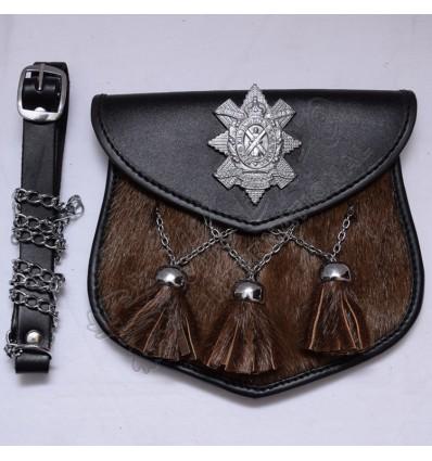 Black watch seal skin sporran with 3 cross chain tessel