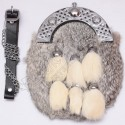 Gray Rabbit Fur Full Dress Sporran with 6 White Fur Tessels