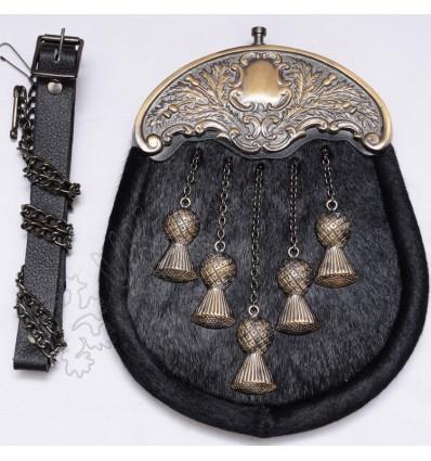 Full Dress Kilt Sporran Formal Seal Skin Thistle Cantle Antique Kilt Sporran