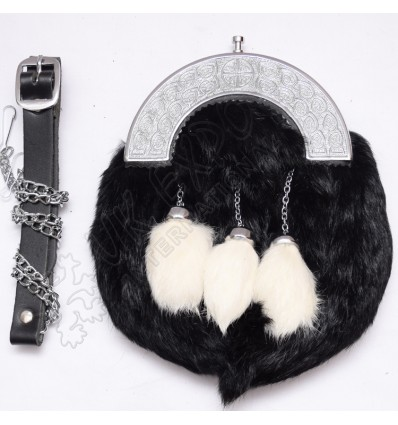 Black and white rabbit fur with celtc knot cantle