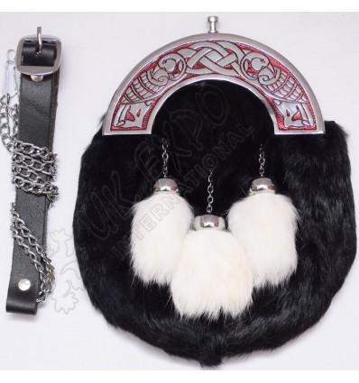 Black and white Rabbit Hair sporran