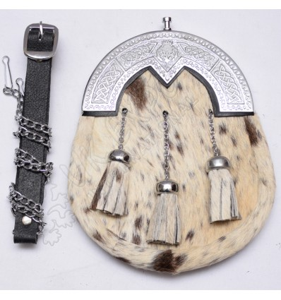 Cow skin white and brown color Diamond shape cantle