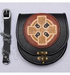 Scottish Black Leather Celtic Design Sporran