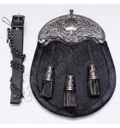 Scottish Black Goat Skin Full Dress Sporrans With Thistle Cantle Black Antique Finish