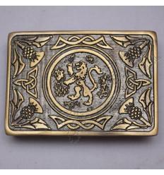 Bronze Celtic Rampart lion Scottish Buckle