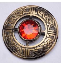 Scottish Bronze Celtic Design Ruby Stone Brooches