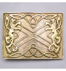 Scottish Brass Polish Rampart Lion kilt Buckle