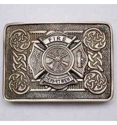Scottish Shiny Antique Celtic Design Buckle With Fire Department Badge