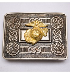 Scottish Shiny Antique Celtic Design Buckle With Us Marine Badge